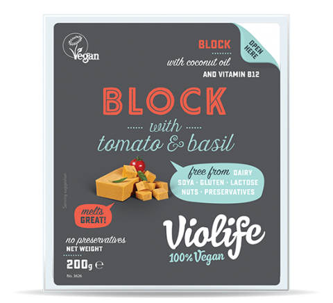 Violife Vegan Cheese with Tomato and Basil Block